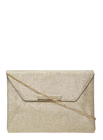 Womens Gold Glitter Envelope Clutch Gold - predominant colour: gold; occasions: evening, occasion; type of pattern: standard; style: clutch; length: hand carry; size: standard; material: leather; pattern: plain; finish: metallic; season: s/s 2016; wardrobe: event