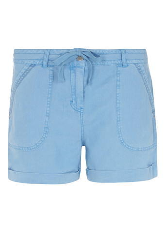 Womens Blue Linen Tie Waist Shorts Blue - pattern: plain; waist detail: belted waist/tie at waist/drawstring; waist: mid/regular rise; predominant colour: pale blue; occasions: casual, holiday; fibres: linen - 100%; texture group: linen; pattern type: fabric; season: s/s 2016; style: denim; length: short shorts; fit: slim leg; wardrobe: holiday