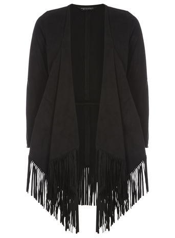 Womens Black Suedette Fringe Throw On Jacket Black - pattern: plain; collar: shawl/waterfall; fit: loose; length: below the bottom; predominant colour: black; occasions: casual; fibres: polyester/polyamide - 100%; sleeve length: long sleeve; sleeve style: standard; collar break: low/open; pattern type: fabric; texture group: suede; embellishment: fringing; style: fluid/kimono; season: s/s 2016; wardrobe: highlight; embellishment location: hip
