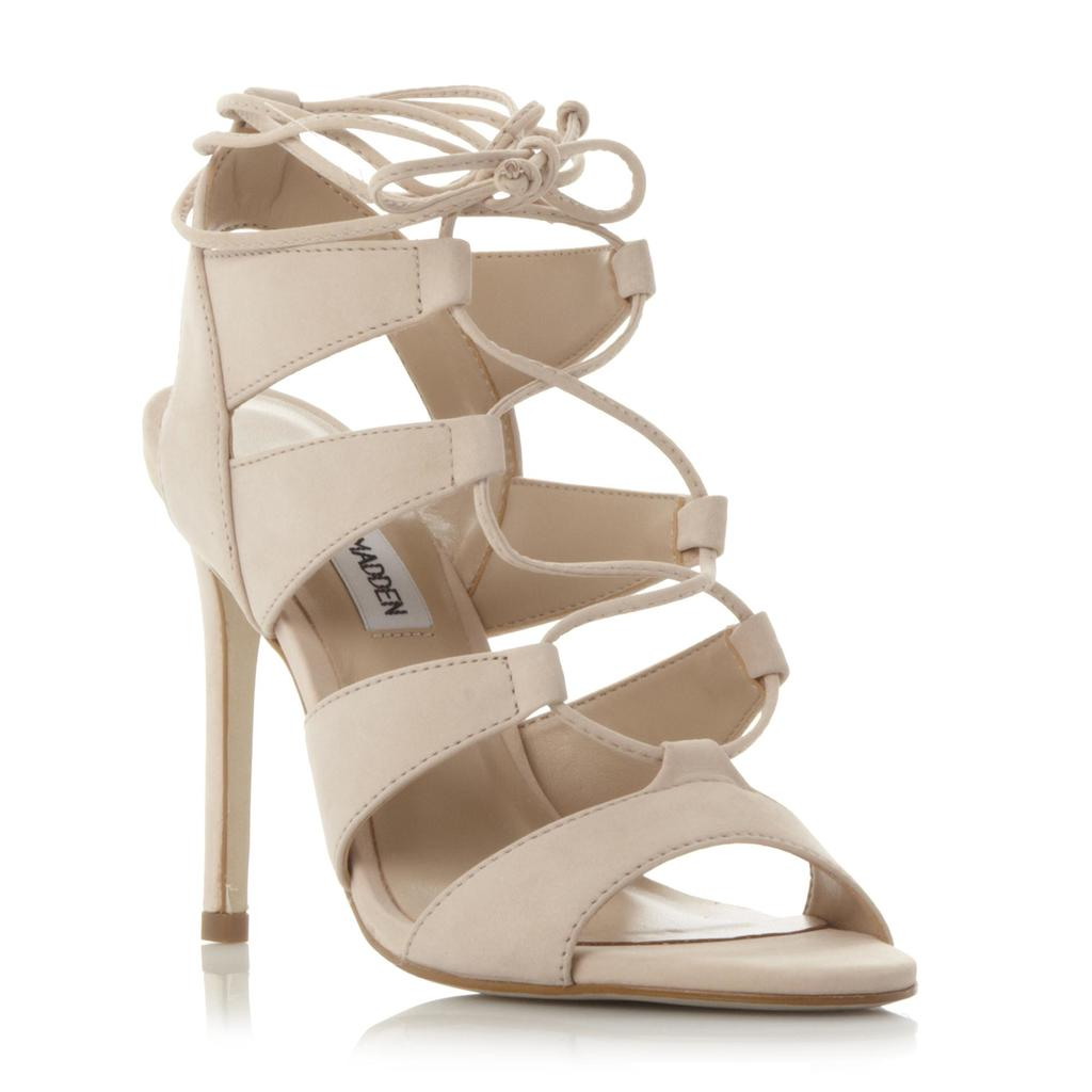 Sandalia Sm Ghillie Lace High Heel Sandal - predominant colour: ivory/cream; occasions: evening, occasion; material: faux leather; ankle detail: ankle tie; heel: stiletto; toe: open toe/peeptoe; style: strappy; finish: plain; pattern: plain; heel height: very high; season: s/s 2016; wardrobe: event