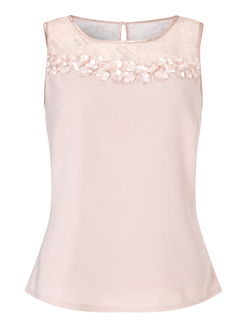 Lace Petal Blouse, Blossom Pink - neckline: round neck; pattern: plain; sleeve style: sleeveless; bust detail: sheer at bust; predominant colour: blush; occasions: casual; length: standard; style: top; fibres: polyester/polyamide - 100%; fit: body skimming; sleeve length: sleeveless; texture group: crepes; pattern type: fabric; embellishment: applique; season: s/s 2016; wardrobe: highlight