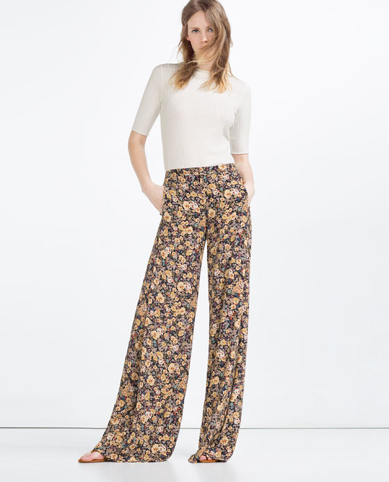 Printed Trousers - length: standard; style: palazzo; waist: high rise; predominant colour: camel; secondary colour: black; occasions: casual, creative work; fibres: viscose/rayon - 100%; fit: wide leg; pattern type: fabric; pattern: patterned/print; texture group: other - light to midweight; pattern size: big & busy (bottom); season: s/s 2016; wardrobe: highlight