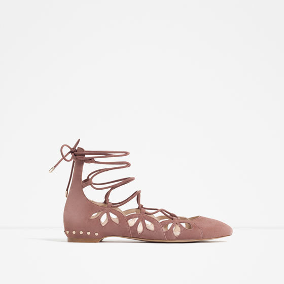 Lace Up Leather Ballerinas - predominant colour: camel; occasions: casual, creative work; material: leather; heel height: flat; ankle detail: ankle tie; toe: round toe; style: ballerinas / pumps; finish: plain; pattern: plain; season: s/s 2016; wardrobe: basic