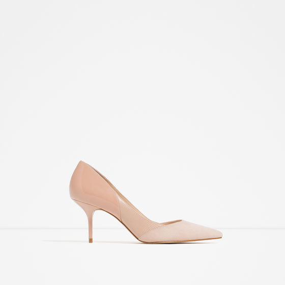 Mid Heel Leather Shoes - predominant colour: nude; occasions: evening, occasion; material: faux leather; heel height: high; heel: stiletto; toe: pointed toe; style: courts; finish: plain; pattern: plain; season: s/s 2016; wardrobe: event