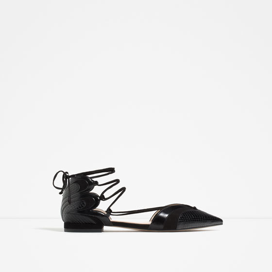 Ballerinas With Straps - predominant colour: black; occasions: casual, creative work; material: leather; heel height: flat; ankle detail: ankle tie; toe: pointed toe; style: ballerinas / pumps; finish: plain; pattern: plain; season: s/s 2016; wardrobe: basic