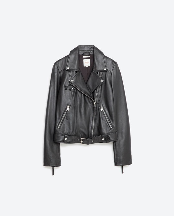 Basic Leather Jacket - pattern: plain; style: biker; collar: asymmetric biker; fit: slim fit; predominant colour: black; length: standard; fibres: leather - 100%; sleeve length: long sleeve; sleeve style: standard; texture group: leather; collar break: medium; pattern type: fabric; occasions: creative work; season: s/s 2016
