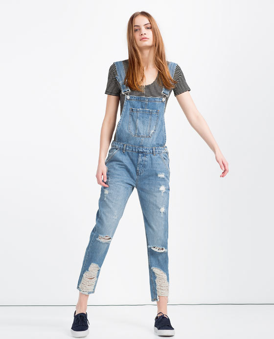 Slouchy Denim Dungarees - length: standard; sleeve style: standard vest straps/shoulder straps; pattern: plain; predominant colour: denim; occasions: casual; fit: body skimming; fibres: cotton - stretch; sleeve length: sleeveless; texture group: denim; style: dungarees; neckline: low square neck; pattern type: fabric; season: s/s 2016; wardrobe: highlight
