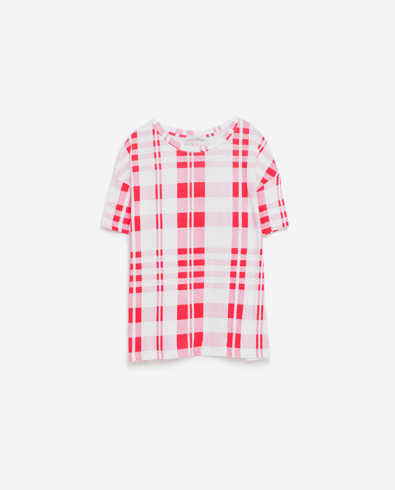 Check Top - neckline: round neck; pattern: checked/gingham; style: t-shirt; predominant colour: white; secondary colour: true red; occasions: casual, creative work; length: standard; fibres: cotton - 100%; fit: straight cut; sleeve length: short sleeve; sleeve style: standard; texture group: crepes; pattern type: fabric; season: s/s 2016; wardrobe: highlight