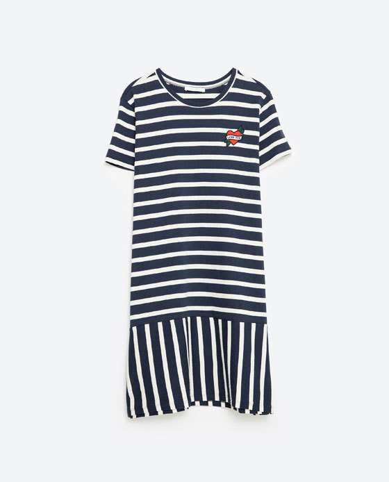 Patch Dress - style: t-shirt; length: mid thigh; neckline: round neck; pattern: horizontal stripes; secondary colour: white; predominant colour: navy; occasions: casual, creative work; fit: body skimming; fibres: cotton - 100%; sleeve length: short sleeve; sleeve style: standard; pattern type: fabric; pattern size: light/subtle; texture group: jersey - stretchy/drapey; season: s/s 2016; wardrobe: basic