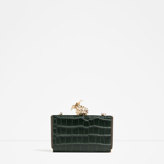Pineapple Minaudiere - predominant colour: black; occasions: evening; type of pattern: standard; style: clutch; length: hand carry; size: small; material: faux leather; pattern: plain; finish: plain; embellishment: chain/metal; season: s/s 2016; wardrobe: event