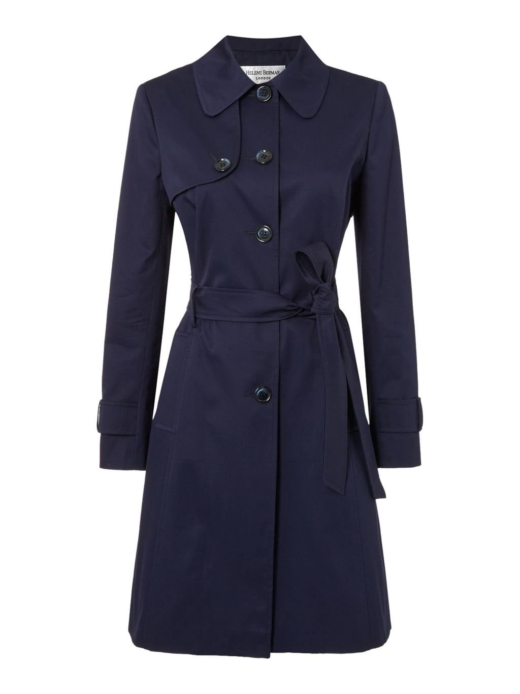 Single Breasted Trench Coat, Navy - pattern: plain; style: trench coat; length: mid thigh; predominant colour: navy; occasions: casual, creative work; fit: tailored/fitted; fibres: cotton - mix; collar: shirt collar/peter pan/zip with opening; waist detail: belted waist/tie at waist/drawstring; sleeve length: long sleeve; sleeve style: standard; texture group: cotton feel fabrics; collar break: high/illusion of break when open; pattern type: fabric; season: s/s 2016; wardrobe: basic