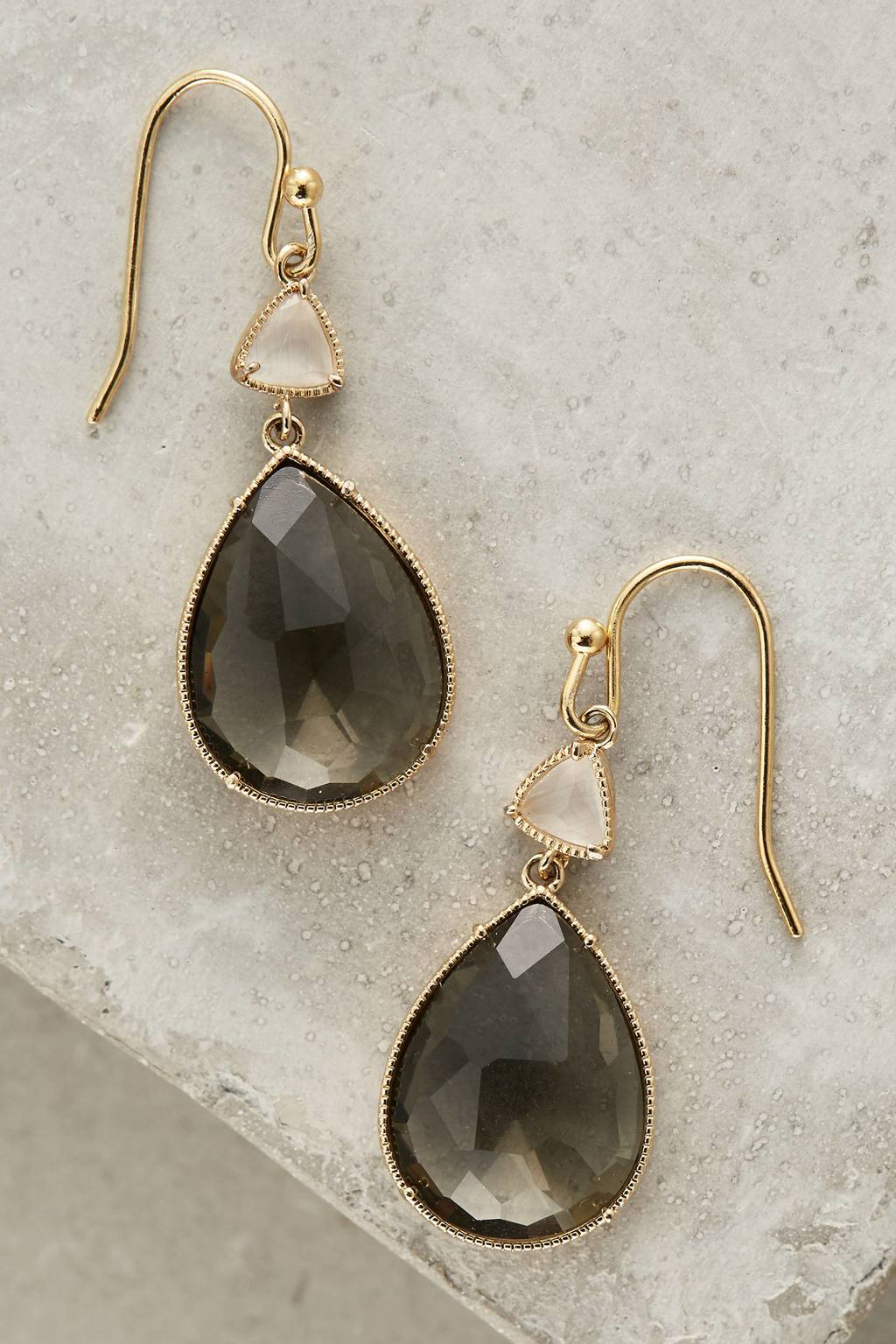 Angelle Drop Earrings - predominant colour: gold; secondary colour: mid grey; occasions: evening, occasion; style: drop; length: mid; size: standard; material: chain/metal; fastening: pierced; finish: metallic; embellishment: jewels/stone; season: s/s 2016; wardrobe: event