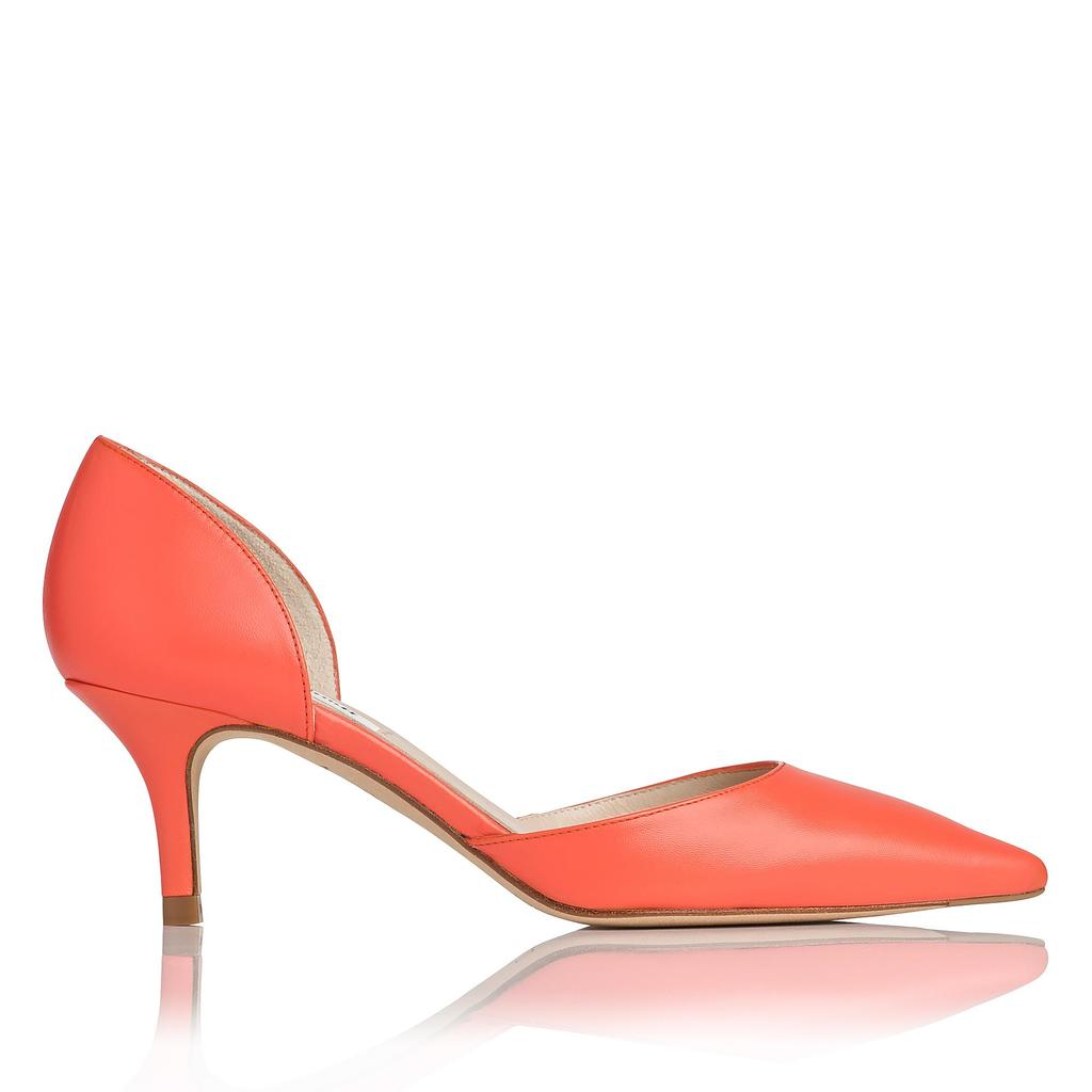 Florine Pink Courts Pink Flamingo - predominant colour: bright orange; occasions: evening, occasion, creative work; material: leather; heel height: mid; heel: kitten; toe: pointed toe; style: courts; finish: plain; pattern: plain; season: s/s 2016; wardrobe: highlight