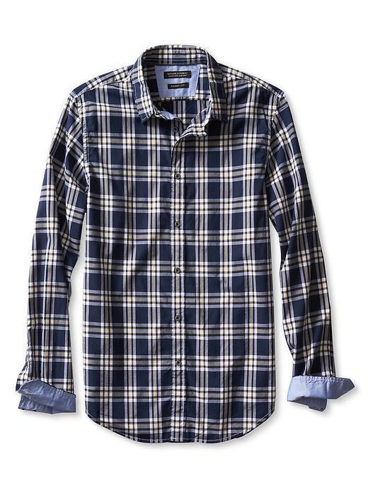 Grant Fit Custom 078 Wash Bold Check Shirt Preppy Navy - neckline: shirt collar/peter pan/zip with opening; pattern: checked/gingham; style: shirt; secondary colour: white; predominant colour: navy; occasions: casual; length: standard; fibres: cotton - 100%; fit: straight cut; sleeve length: long sleeve; sleeve style: standard; texture group: cotton feel fabrics; pattern type: fabric; pattern size: standard; season: s/s 2016; wardrobe: highlight