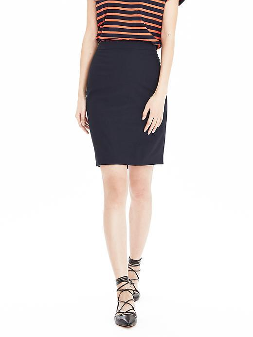 Navy Lightweight Wool Pencil Skirt Navy - pattern: plain; style: pencil; fit: tailored/fitted; waist: high rise; predominant colour: navy; length: just above the knee; fibres: wool - 100%; pattern type: fabric; texture group: other - light to midweight; occasions: creative work; season: s/s 2016; wardrobe: basic