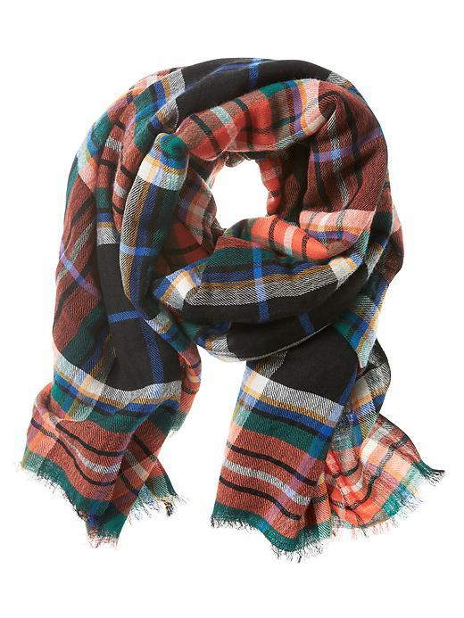 Naomi Plaid Scarf Geo Red - secondary colour: coral; predominant colour: black; occasions: casual, creative work; type of pattern: light; style: regular; size: standard; material: fabric; pattern: checked/gingham; multicoloured: multicoloured; season: s/s 2016; wardrobe: highlight