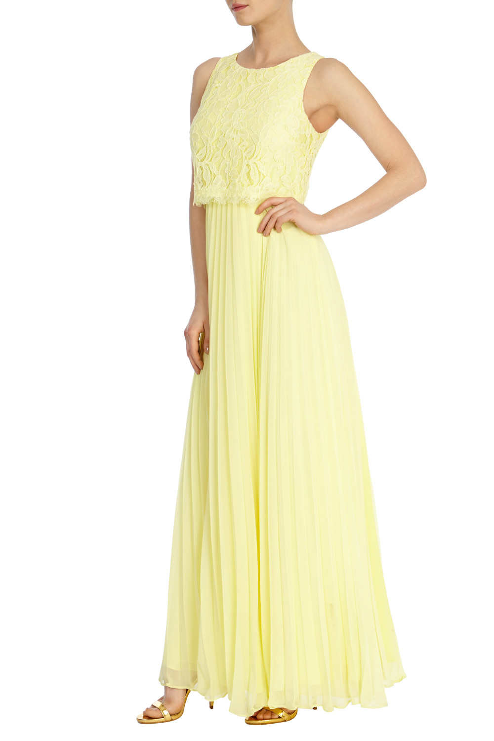 Delia Lace Maxi - style: ballgown; pattern: plain; sleeve style: sleeveless; predominant colour: primrose yellow; length: floor length; fit: soft a-line; fibres: polyester/polyamide - 100%; occasions: occasion; neckline: crew; sleeve length: sleeveless; texture group: lace; pattern type: fabric; embellishment: lace; season: s/s 2016; wardrobe: event