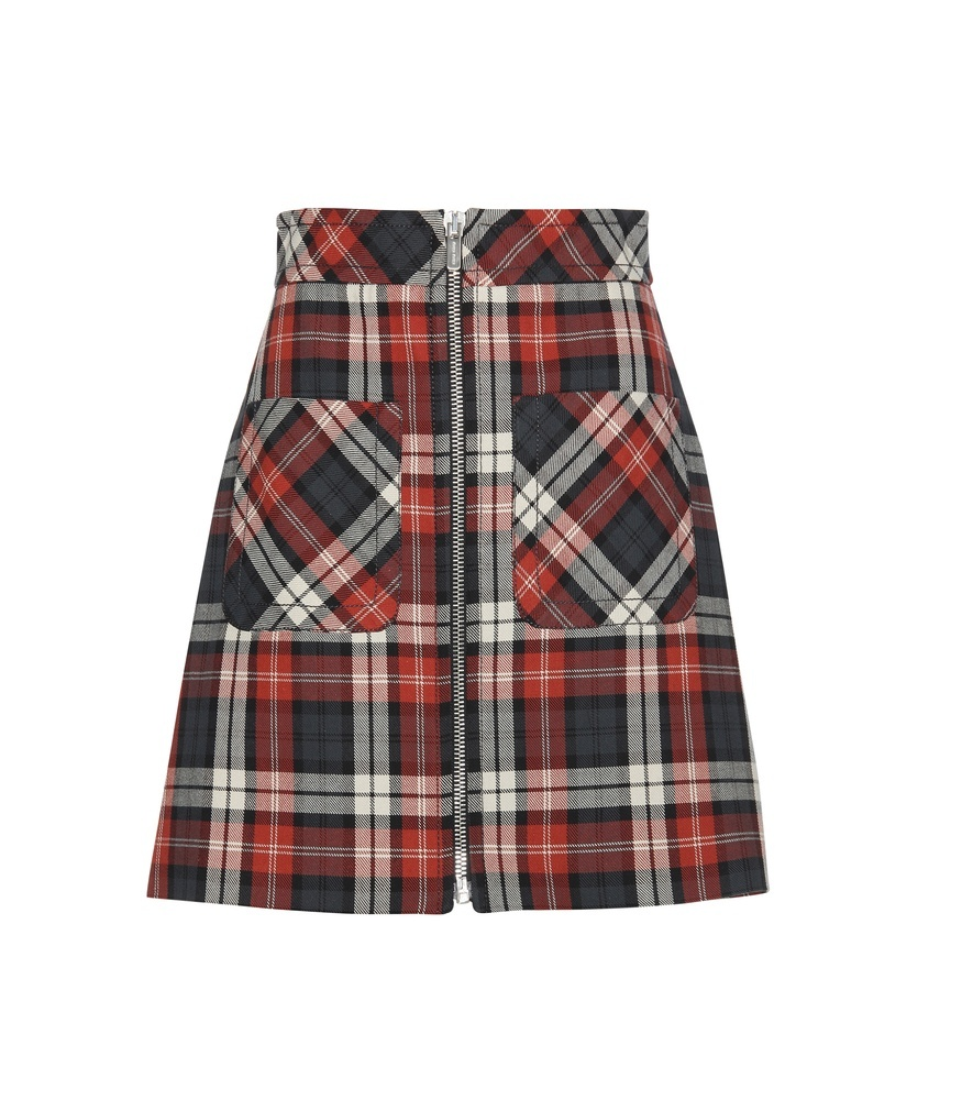 Plaid Cotton Skirt - length: mid thigh; pattern: checked/gingham; fit: body skimming; hip detail: front pockets at hip; waist detail: wide waistband/cummerbund; waist: high rise; predominant colour: true red; secondary colour: black; occasions: casual, creative work; style: a-line; fibres: cotton - 100%; texture group: cotton feel fabrics; pattern type: fabric; pattern size: big & busy (bottom); season: s/s 2016; wardrobe: highlight