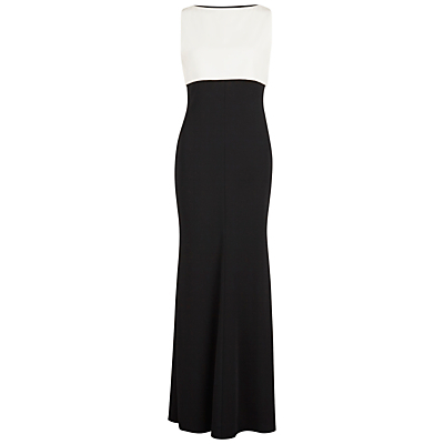 Moss Crepe Maxi Dress, Black/Ivory - pattern: plain; sleeve style: sleeveless; secondary colour: ivory/cream; predominant colour: black; length: floor length; fit: body skimming; fibres: polyester/polyamide - stretch; occasions: occasion; style: fishtail; neckline: crew; sleeve length: sleeveless; pattern type: fabric; texture group: jersey - stretchy/drapey; season: s/s 2016; wardrobe: event