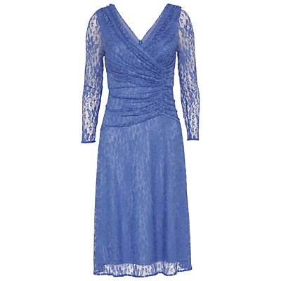 Floral Lace Ruched Dress, Blue - style: faux wrap/wrap; neckline: low v-neck; bust detail: ruching/gathering/draping/layers/pintuck pleats at bust; predominant colour: denim; length: on the knee; fit: fitted at waist & bust; fibres: polyester/polyamide - 100%; occasions: occasion; hip detail: soft pleats at hip/draping at hip/flared at hip; sleeve length: 3/4 length; sleeve style: standard; texture group: lace; pattern type: fabric; pattern: patterned/print; embellishment: lace; season: s/s 2016; wardrobe: event