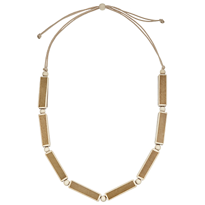 Wooden Rectangle Necklace, Brown/Cream - predominant colour: taupe; occasions: casual; length: short; size: standard; material: plastic/rubber; finish: plain; embellishment: beading; season: s/s 2016; style: chain (no pendant); wardrobe: highlight