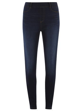 Womens Indigo High Waisted 'eden' Jeggings Blue - style: skinny leg; length: standard; pattern: plain; waist: high rise; predominant colour: navy; occasions: casual; fibres: cotton - stretch; texture group: denim; pattern type: fabric; season: s/s 2016; wardrobe: basic