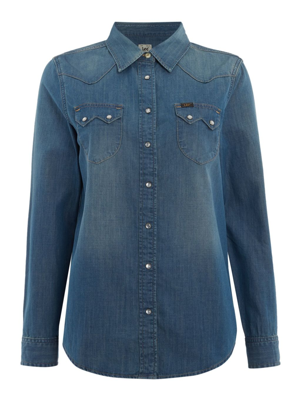 Regular Western Denim Shirt, Denim Mid Wash - neckline: shirt collar/peter pan/zip with opening; pattern: plain; style: shirt; predominant colour: navy; occasions: casual; length: standard; fibres: cotton - 100%; fit: body skimming; sleeve length: long sleeve; sleeve style: standard; texture group: denim; bust detail: bulky details at bust; pattern type: fabric; season: s/s 2016; wardrobe: highlight