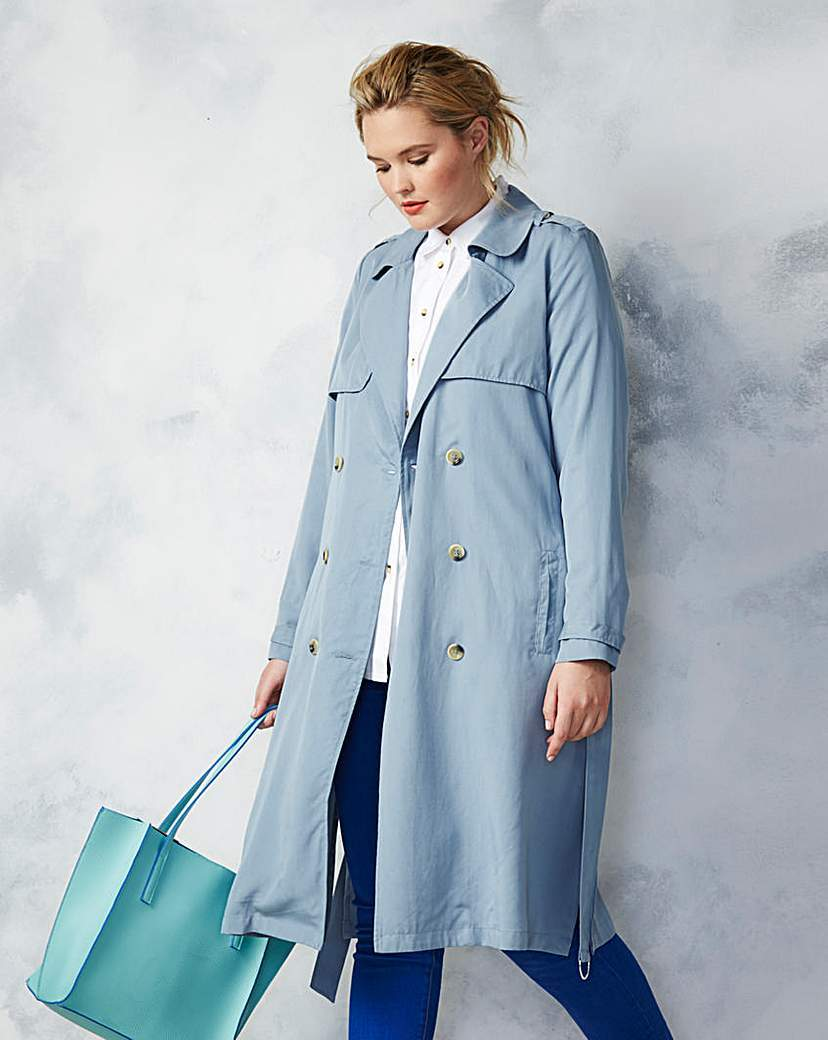 Longline Duster Mac - pattern: plain; style: trench coat; length: on the knee; collar: standard lapel/rever collar; predominant colour: pale blue; occasions: casual, creative work; fit: straight cut (boxy); fibres: polyester/polyamide - 100%; waist detail: belted waist/tie at waist/drawstring; sleeve length: long sleeve; sleeve style: standard; texture group: cotton feel fabrics; collar break: medium; pattern type: fabric; season: s/s 2016; wardrobe: highlight