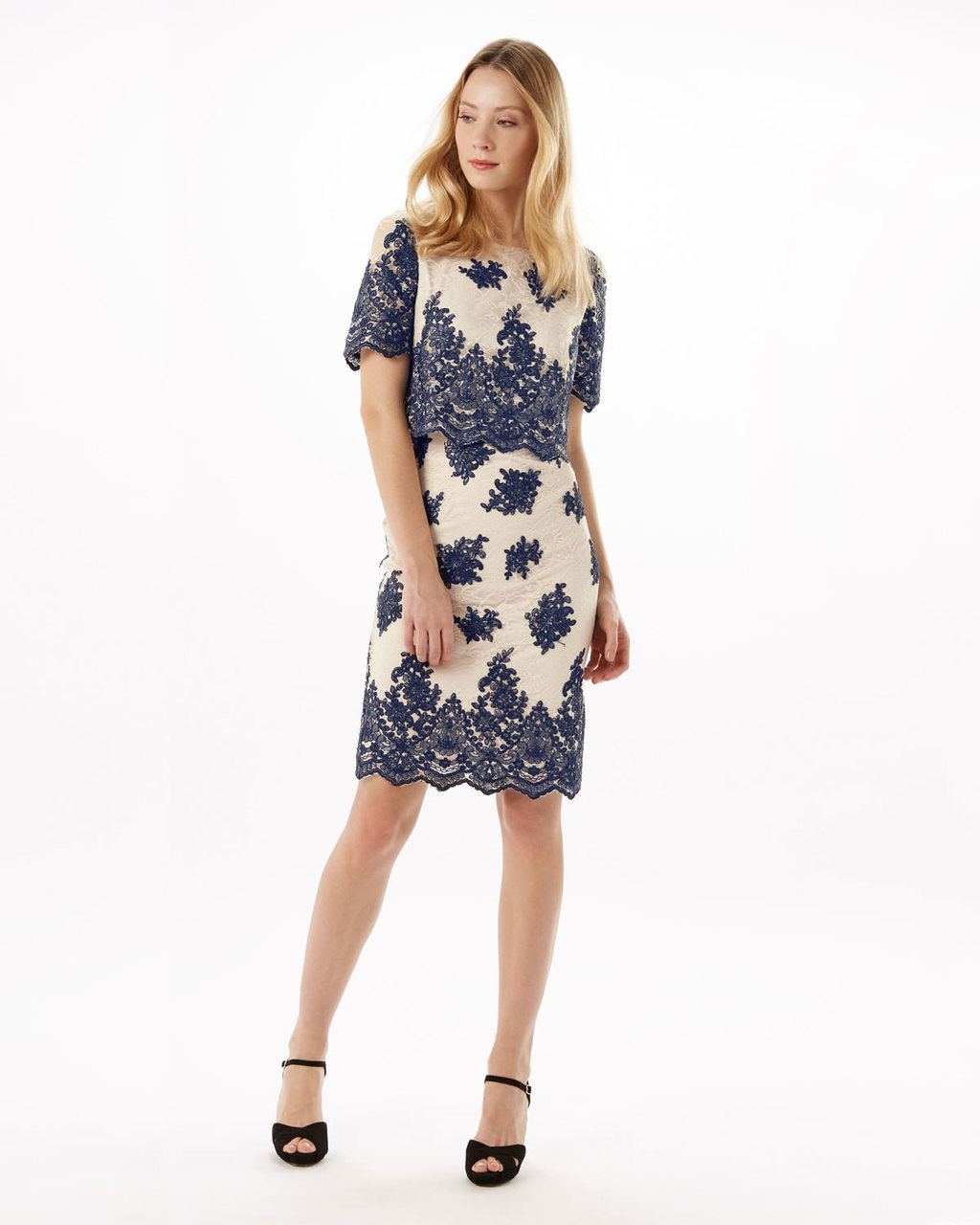 Ariel Lace Dress - style: shift; neckline: round neck; fit: tailored/fitted; hip detail: draws attention to hips; predominant colour: navy; secondary colour: navy; occasions: evening, occasion; length: just above the knee; fibres: polyester/polyamide - 100%; sleeve length: short sleeve; sleeve style: standard; pattern type: fabric; pattern size: standard; pattern: florals; texture group: other - light to midweight; embellishment: lace; season: s/s 2016; wardrobe: event; embellishment location: pattern