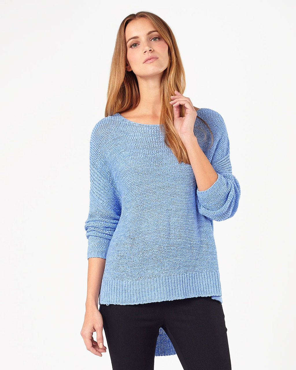 Tazia Tape Yarn Jumper - neckline: round neck; pattern: plain; length: below the bottom; style: standard; predominant colour: pale blue; occasions: casual, creative work; fibres: acrylic - mix; fit: standard fit; sleeve length: long sleeve; sleeve style: standard; texture group: knits/crochet; pattern type: knitted - other; season: s/s 2016; wardrobe: highlight