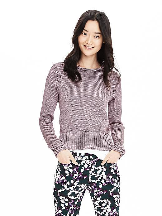 Metallic Pullover Sweater Purple Candy - neckline: round neck; pattern: plain; style: standard; predominant colour: lilac; occasions: casual, work, creative work; length: standard; fibres: polyester/polyamide - 100%; fit: slim fit; sleeve length: long sleeve; sleeve style: standard; texture group: knits/crochet; pattern type: knitted - fine stitch; season: s/s 2016