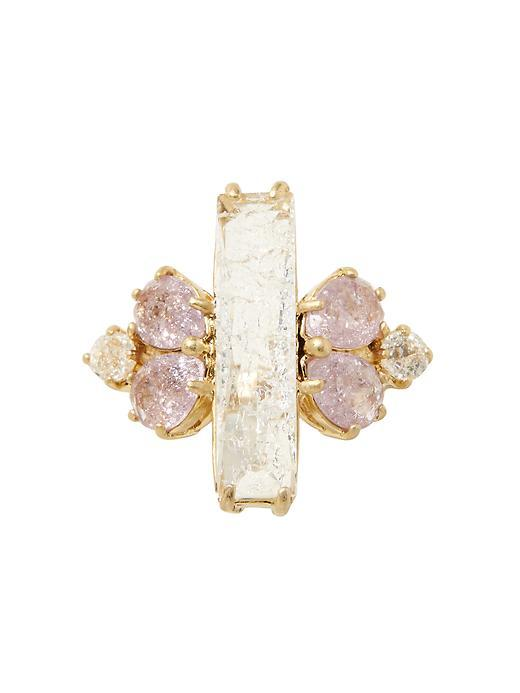 Baguette Cocktail Ring Gold - secondary colour: blush; predominant colour: gold; occasions: evening, occasion; style: cocktail; size: large/oversized; material: chain/metal; finish: metallic; embellishment: jewels/stone; season: s/s 2016; trends: new romantics; wardrobe: event
