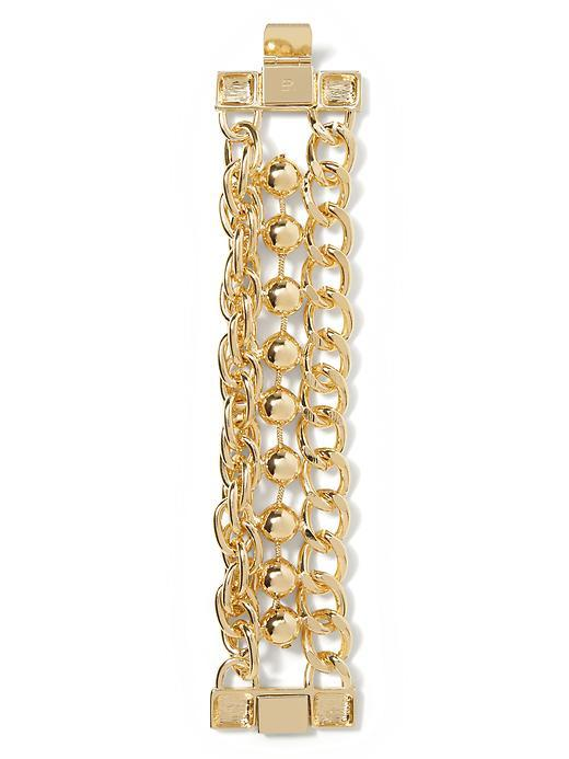 Chain Line Bracelet Gold - predominant colour: gold; occasions: evening, occasion; style: chain; size: large/oversized; material: chain/metal; finish: metallic; season: s/s 2016; wardrobe: event