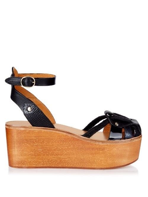 Zelie Wooden Flatform Sandals - predominant colour: black; occasions: casual, holiday; material: leather; heel height: mid; ankle detail: ankle strap; heel: wedge; style: standard; finish: plain; pattern: plain; toe: caged; shoe detail: platform; season: s/s 2016