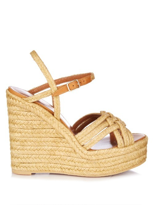 Cognac Espadrille Wedge Sandals - secondary colour: camel; predominant colour: stone; occasions: casual; material: macrame/raffia/straw; heel height: high; ankle detail: ankle strap; heel: wedge; toe: open toe/peeptoe; style: strappy; finish: plain; pattern: plain; shoe detail: platform; season: s/s 2016; wardrobe: highlight