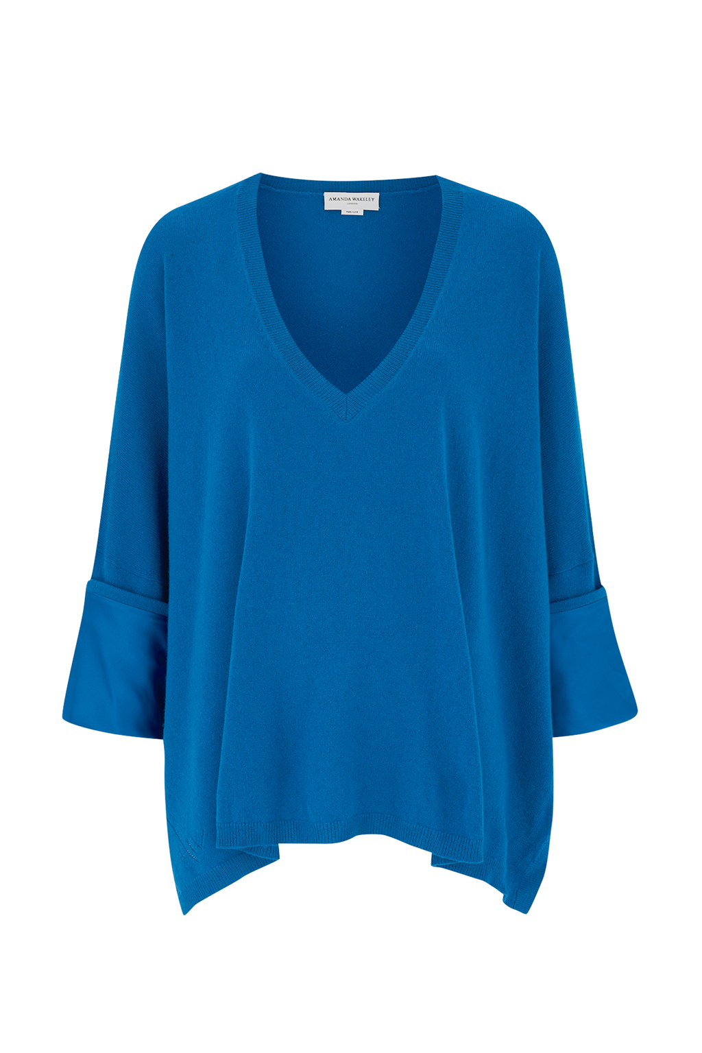 Hutton Cobalt Cashmere Boyfriend Top - neckline: v-neck; pattern: plain; predominant colour: diva blue; occasions: casual; length: standard; style: top; fit: loose; fibres: cashmere - 100%; sleeve length: long sleeve; sleeve style: standard; texture group: knits/crochet; pattern type: fabric; season: s/s 2016; wardrobe: highlight