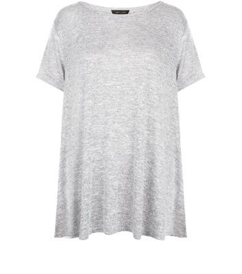 Grey Fine Knit Swing T Shirt - pattern: plain; length: below the bottom; style: t-shirt; predominant colour: light grey; occasions: casual; fibres: viscose/rayon - stretch; fit: loose; neckline: crew; sleeve length: short sleeve; sleeve style: standard; pattern type: fabric; texture group: jersey - stretchy/drapey; season: s/s 2016; wardrobe: basic
