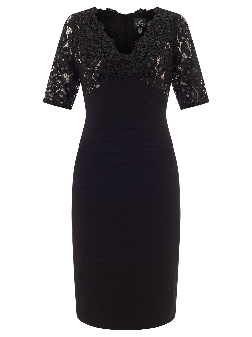 Lace Dress, Multi Coloured - neckline: v-neck; fit: tight; pattern: plain; style: bodycon; bust detail: sheer at bust; predominant colour: black; occasions: evening; length: on the knee; fibres: polyester/polyamide - stretch; sleeve length: short sleeve; sleeve style: standard; texture group: jersey - clingy; pattern type: fabric; embellishment: lace; season: s/s 2016; wardrobe: event