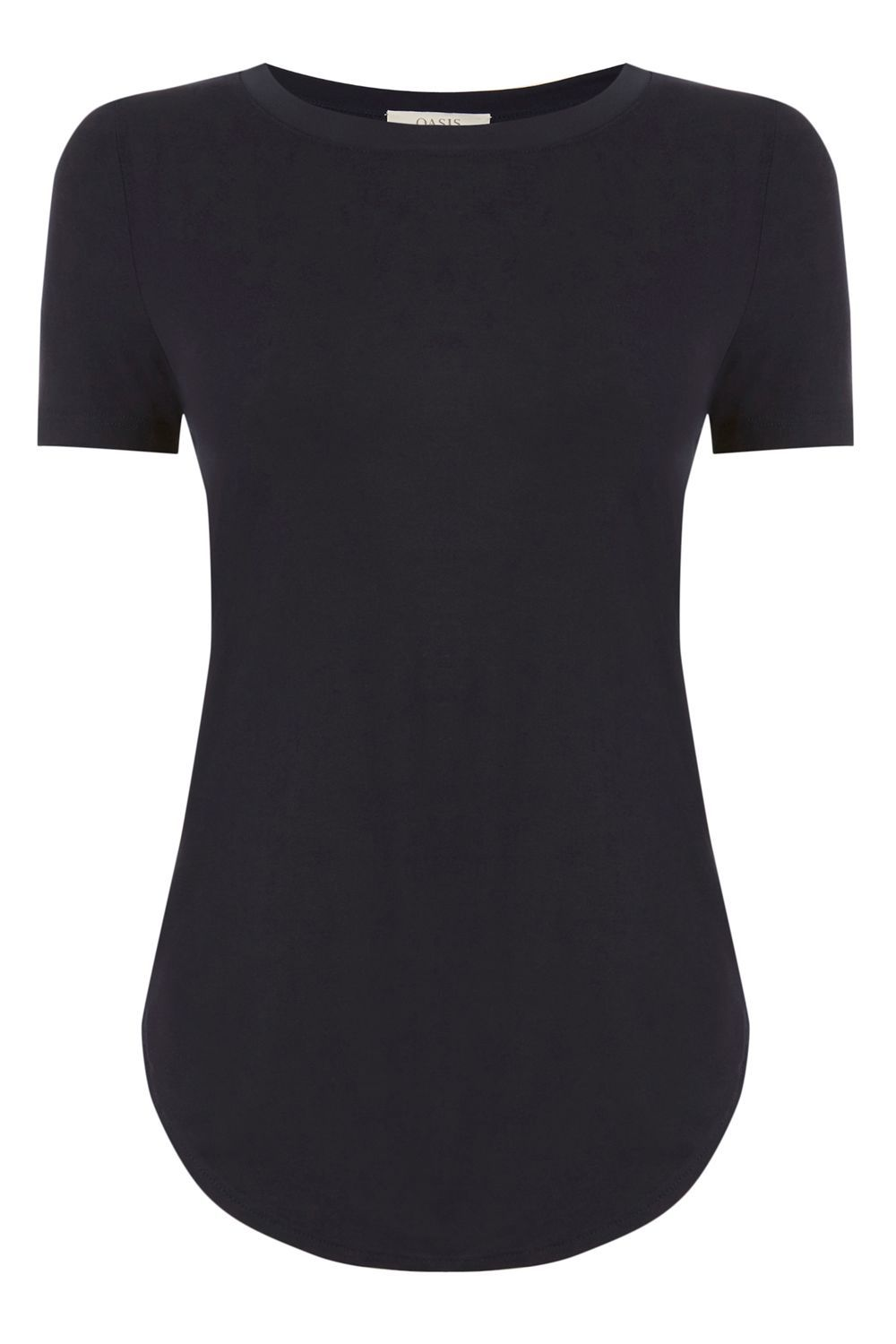 The Percfect Tee, Navy - pattern: plain; length: below the bottom; style: t-shirt; predominant colour: black; occasions: casual; fibres: viscose/rayon - 100%; fit: body skimming; neckline: crew; sleeve length: short sleeve; sleeve style: standard; pattern type: fabric; texture group: jersey - stretchy/drapey; season: s/s 2016; wardrobe: basic