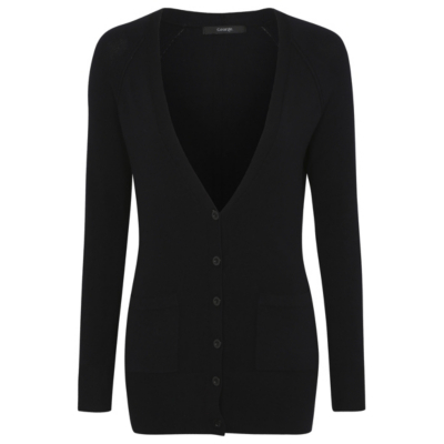 Boyfriend Cardigan Black - neckline: low v-neck; pattern: plain; length: below the bottom; predominant colour: black; occasions: casual, work, creative work; style: standard; fibres: polyester/polyamide - mix; fit: standard fit; sleeve length: long sleeve; sleeve style: standard; texture group: knits/crochet; pattern type: knitted - fine stitch; season: s/s 2016; wardrobe: basic