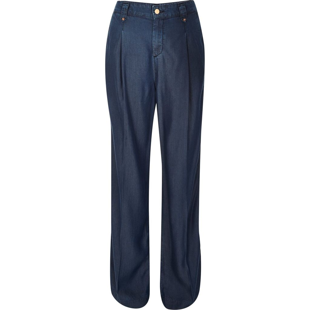 Womens Blue Tencel Denim Wide Leg Trousers - length: standard; pattern: plain; waist: high rise; predominant colour: navy; occasions: casual, creative work; fibres: viscose/rayon - 100%; texture group: denim; fit: wide leg; pattern type: fabric; style: standard; season: s/s 2016; wardrobe: basic