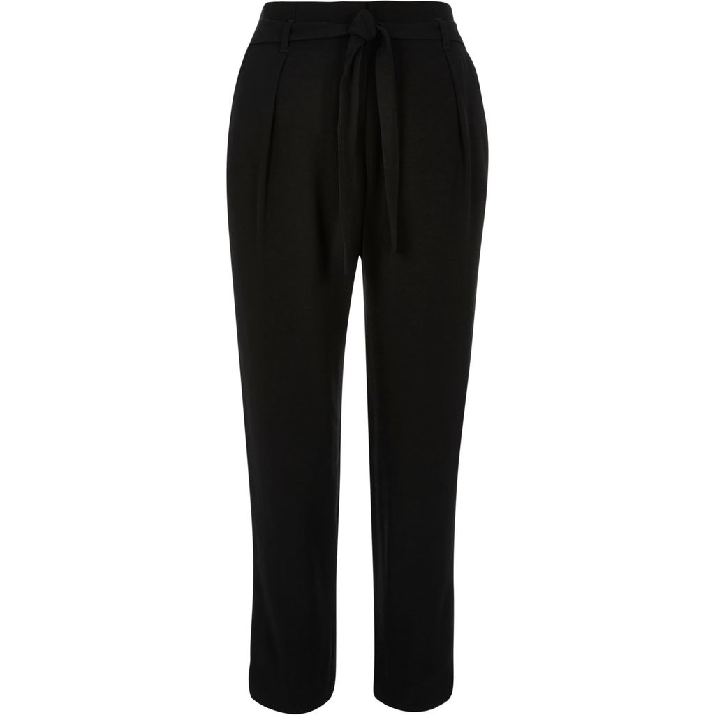 Womens Black Soft Tie Waist Tapered Trousers - length: standard; pattern: plain; style: peg leg; waist: high rise; predominant colour: black; occasions: work; fibres: polyester/polyamide - mix; fit: tapered; pattern type: fabric; texture group: woven light midweight; season: s/s 2016; wardrobe: basic