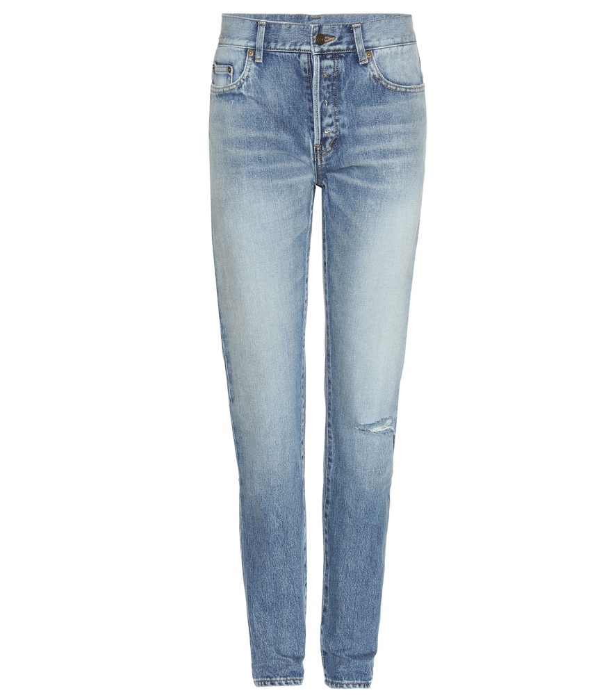 High Waisted Skinny Jeans - style: skinny leg; length: standard; pattern: plain; pocket detail: traditional 5 pocket; waist: mid/regular rise; predominant colour: pale blue; occasions: casual; fibres: cotton - stretch; jeans detail: whiskering, washed/faded, rips; texture group: denim; pattern type: fabric; season: s/s 2016; wardrobe: basic