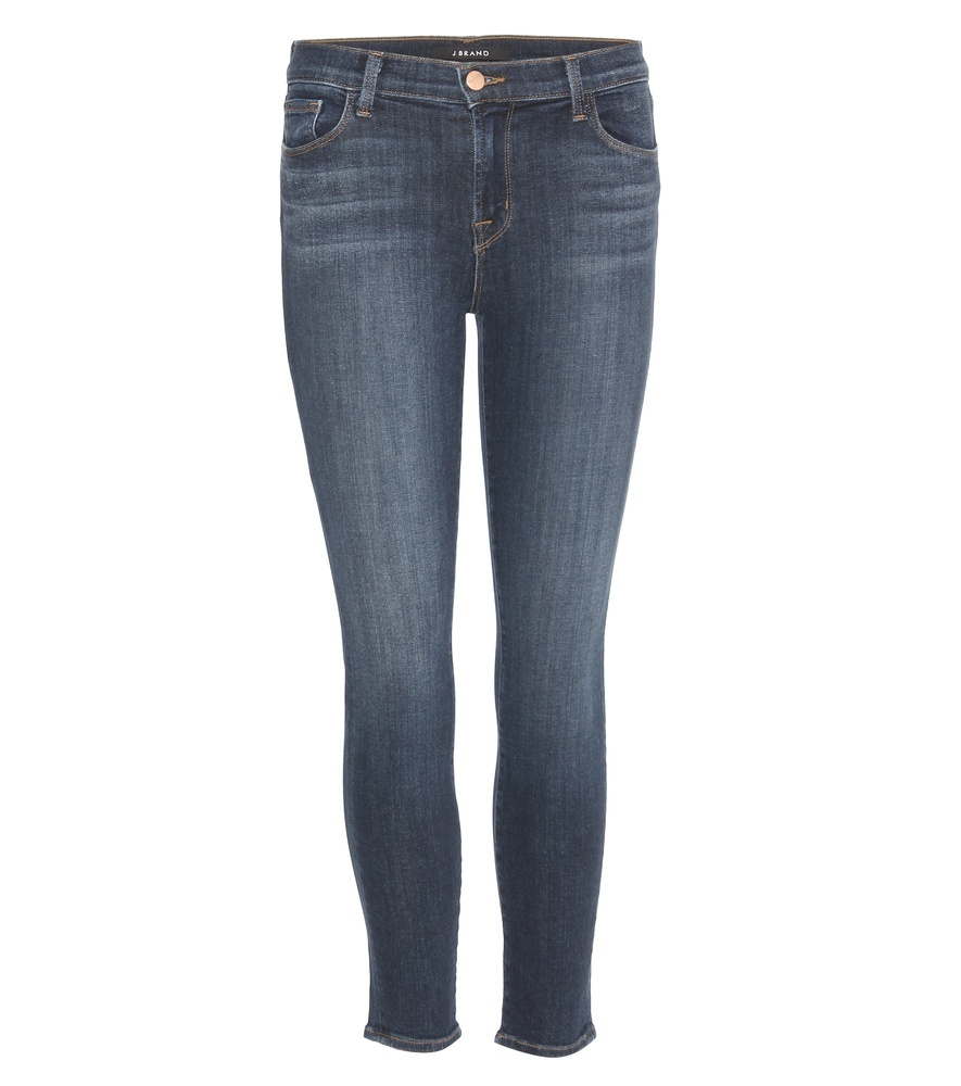 Capri Mid Rise Cropped Jeans - style: skinny leg; pattern: plain; pocket detail: traditional 5 pocket; waist: mid/regular rise; predominant colour: navy; occasions: casual; length: calf length; fibres: cotton - stretch; jeans detail: whiskering; texture group: denim; pattern type: fabric; season: s/s 2016; wardrobe: basic
