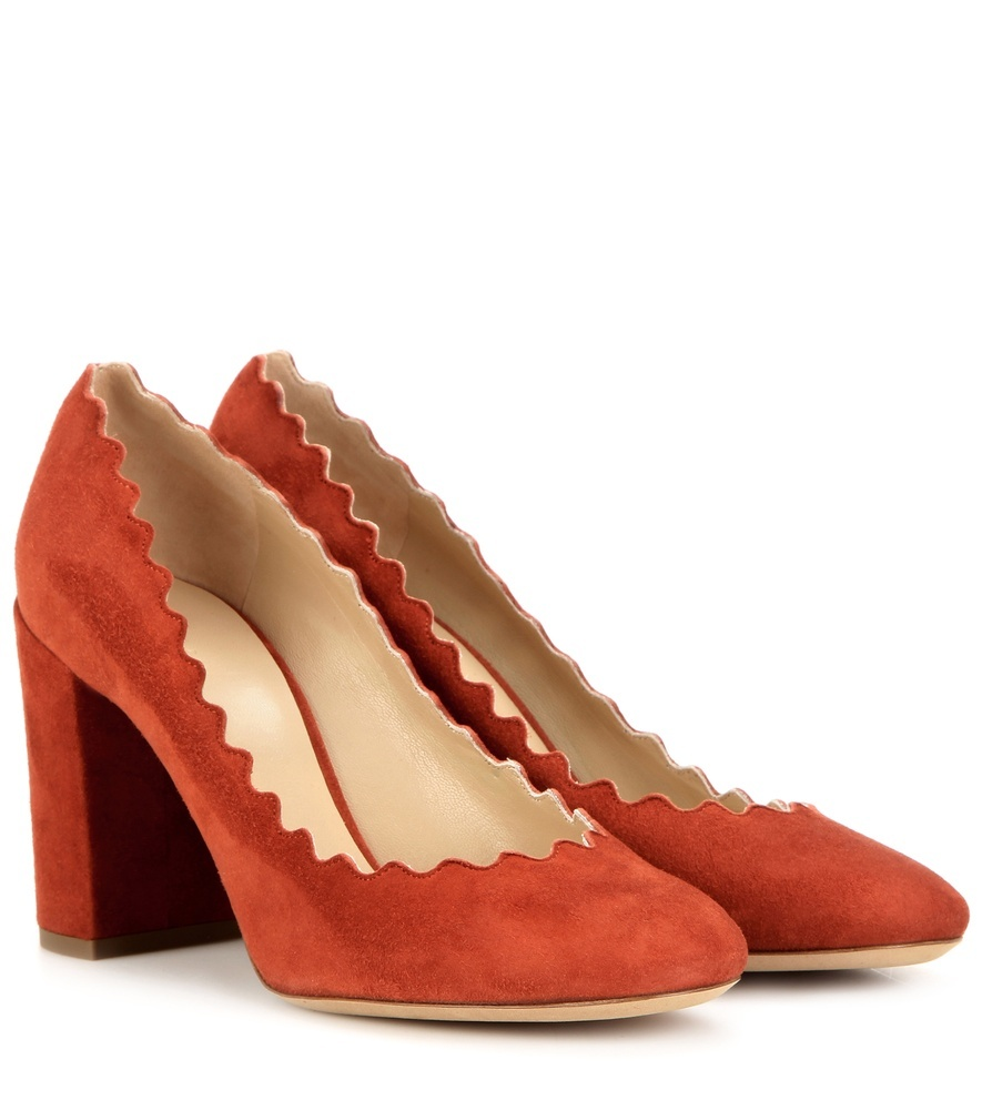 Lauren Suede Pumps - predominant colour: bright orange; occasions: work, creative work; material: suede; heel height: high; heel: block; toe: round toe; style: courts; finish: plain; pattern: plain; season: s/s 2016; wardrobe: highlight