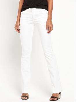 Dorothy Mid Rise Bootcut Jean - style: bootcut; length: standard; pattern: plain; pocket detail: traditional 5 pocket; waist: mid/regular rise; predominant colour: white; occasions: casual; fibres: cotton - stretch; texture group: denim; pattern type: fabric; season: s/s 2016; wardrobe: highlight