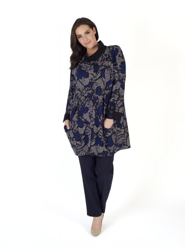Blue Jersey Printed Coat With Black Trim - fit: loose; style: single breasted; length: mid thigh; predominant colour: navy; secondary colour: mid grey; occasions: casual, creative work; fibres: polyester/polyamide - stretch; collar: shirt collar/peter pan/zip with opening; sleeve length: long sleeve; sleeve style: standard; collar break: high; pattern type: fabric; pattern: patterned/print; texture group: woven light midweight; pattern size: big & busy (top); season: s/s 2016; wardrobe: highlight