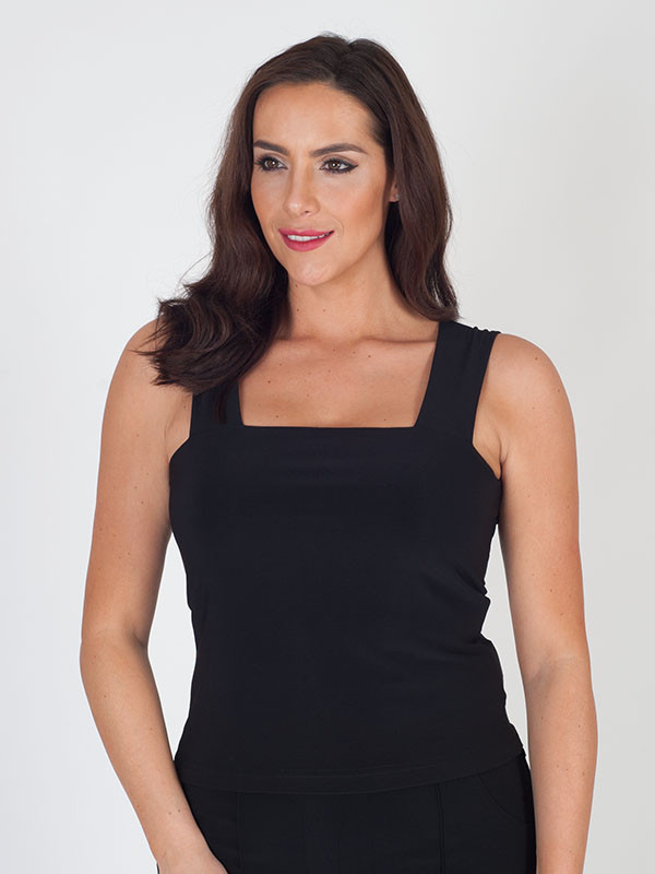 Joseph Ribkoff Black Jersey Top - sleeve style: standard vest straps/shoulder straps; pattern: plain; predominant colour: black; occasions: casual; length: standard; style: top; fibres: polyester/polyamide - mix; fit: body skimming; sleeve length: sleeveless; neckline: medium square neck; pattern type: fabric; texture group: jersey - stretchy/drapey; season: s/s 2016; wardrobe: basic