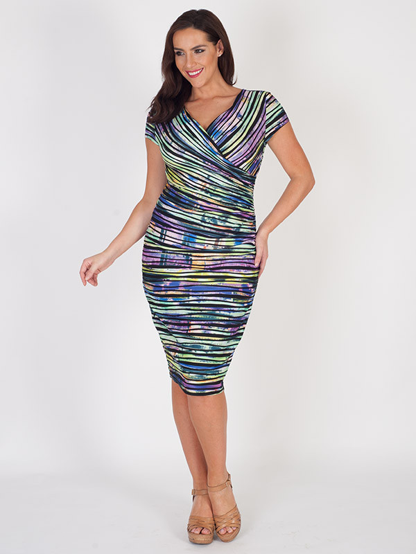 Joseph Ribkoff Crossover Dress - style: faux wrap/wrap; neckline: low v-neck; sleeve style: capped; secondary colour: aubergine; predominant colour: navy; occasions: evening, occasion; length: on the knee; fit: body skimming; fibres: polyester/polyamide - 100%; sleeve length: short sleeve; pattern type: fabric; pattern size: standard; pattern: patterned/print; texture group: jersey - stretchy/drapey; multicoloured: multicoloured; season: s/s 2016