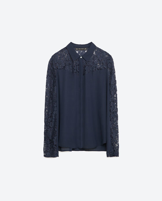 Contrast Lace Blouse - neckline: shirt collar/peter pan/zip with opening; pattern: plain; style: blouse; predominant colour: navy; occasions: evening; length: standard; fibres: polyester/polyamide - 100%; fit: body skimming; sleeve length: long sleeve; sleeve style: standard; texture group: crepes; pattern type: fabric; embellishment: lace; season: s/s 2016; wardrobe: event